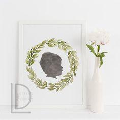 Custom Watercolor Silhouette Portrait - Great gift idea