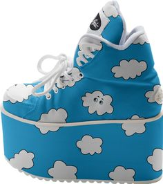 Blue Sky Cartoon Funny #Clouds Buffalo #Platform #Shoes from Print All Over Me
