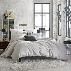 Kenneth Cole Reaction Home Elements Reversible Full/Queen Duvet Cover in Grey Mist (Bed Bath & Beyond) Brown Bed Linen, Neutral Bed Linen, Neutral Bedding, Best Bedding Sets, Luxury Bedding Sets, Luxury Bedrooms, Modern Bedrooms, Beautiful Bedrooms, Best Duvet Covers