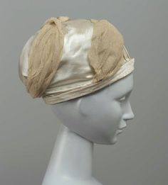 Turban. Turbans coming into fashion during the early 1800's was depictive of life during that time. Following Napolean's invasion of Egypt, a sense of Turkophilia set in, with the East being a large theme in various aspects of life, particularly fashion. This turban is a cream silk piece at The Museum of Fine Arts in Boston.