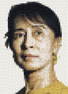 'Analog to Digital' series of portraits, by Australian artist Works by Knight, Created from keyboard keys and digital components!