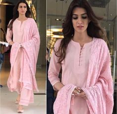 Kriti Sanon Outfit & Juttis - Styled by -sanon # beautiful # pink # simple palazzo and kurtaDress Casual Pink Simple For may contain: 2 people, people standingFind dresses for first date. Choose from top 10 first date look ideas and buy you Designer Kurtis, Indian Designer Suits, Punjabi Suits Designer Boutique, Boutique Suits, Kurti Neck Designs, Salwar Designs, Blouse Designs, Plain Kurti Designs, Pakistani Dresses