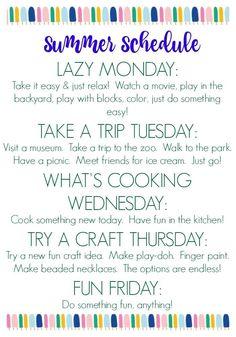 Summer Schedule for