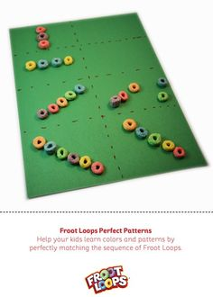 Froot Loops Perfect Patterns Busy Bag helps your child recognize and create patterns Motor Activities, Educational Activities, Learning Colors, Kids Learning, Froot Loops, Bags Game, Pattern Recognition, Busy Bags, Business For Kids