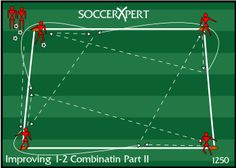 soccer combination play, soccer 1-2, soccer drills, combination play