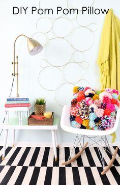 DIY Pom Pom Pillow - Fun DIY Home Decor project for fall - yarn pom pom - trendy…