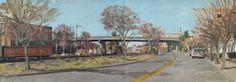 """Belmont Bridge, 2015. Oil on board, small diptych, 12 x 32"""""""