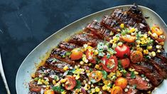 This flank steak recipe is a spicy and sweet powerhouse thanks to an expert seasoning blend and grilled corn salsa. This flank steak recipe is a spicy and sweet powerhouse thanks to an expert seasoning blend and grilled corn salsa. Flank Steak Recipes, Grilled Steak Recipes, Grilling Recipes, Beef Recipes, Cooking Recipes, Water Recipes, Fun Recipes, Recipe Ideas, Holiday Recipes
