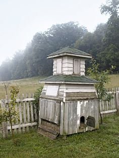 A cupola finds new life as a chicken coop.