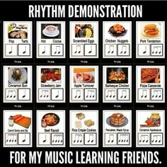 Music rhythms - food (cold watermelon works better than Beef Ravioli)
