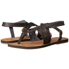 Rip Curl Rivi (Brown/Tan) Women's Sandals ($42) ❤ liked on Polyvore featuring shoes, sandals, cutout sandals, tan shoes, ankle strap sandals, cutout shoes and ankle wrap shoes