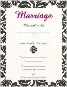 Tulip Marriage Wedding Certificate With Pink Orange Burgundy