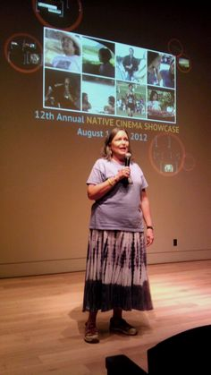 NAPT Executive Director Shirley Sneve introducing the The Medicine Game at the 12th Annual Native Cinema Showcase in Santa Fe, NM.