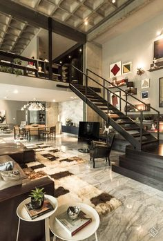 Beautiful modern design elements in this loft. Love the open space lofts provide. Loft Design, Deco Design, Design Design, Studio Design, Modern House Design, Urban Design, Dream House Design, Design Miami, Library Design