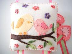 Felt Hair clip holder-Mikis Wool Felt Hair clip holder-Felt sleepy bird, tree, flower applique-Beutiful wall Deco