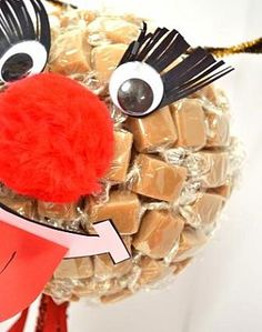 How to make a reindeer sweet tree with fudge & Styrofoam. http://www.littlecraftybugs.co.uk/infopage.asp?infoid=652=18=4844#
