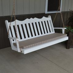 Outdoor A & L Furniture Yellow Pine Royal English Deluxe Garden Swing White - 413-WP WHITE