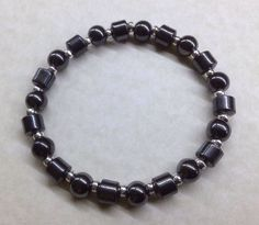 MENS HEMATITE BRACELET 8mm Round and Tube Bead Gemstone with Silver Spacer Beads