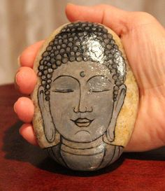 Hand painted stone painted stone buddha by EmmysHeartsnCrafts