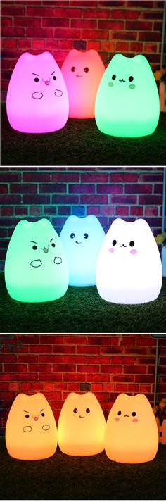 US$14.99  7 Color Changeable Silicone LED Lamp Kawaii Cat Shaped USB Rechargeable Night Light