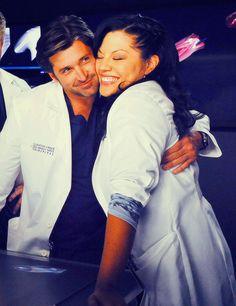 "Patrick Dempsey (Derek ""McDreamy"" Shepherd) & Sara Ramirez (Callie Torres). Grey's Anatomy."