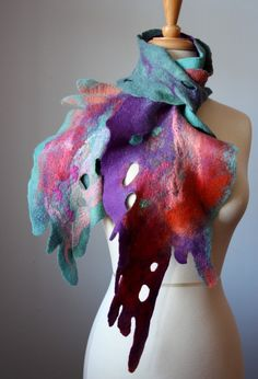 Nuno felted art scarf asymmetrical wool neckwarmer / hip wrap / OOAK wool silk in Purple Orange Green Red Nuno Felting, Needle Felting, Nuno Felt Scarf, Felted Scarf, Textile Fiber Art, Body Adornment, Felt Fabric, Felt Hearts, Colourful Outfits
