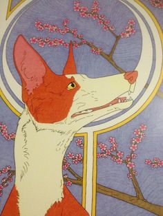 Cherry Blossom Ibizan Hound Print by WoodsWatch on Etsy Ibizan Hound, Cherries, Blossoms, Cherry Blossom, Art Nouveau, Kids Rugs, Unique Jewelry, Handmade Gifts, Etsy