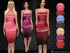 The Sims Resource: Crushed Sequin Bodice Dress by Harmonia • Sims 4 Downloads