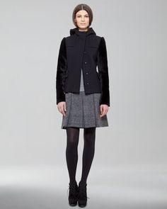 Shearling-Sleeve Coat, Contrast-Sleeve Tee & Pleated Trompe L\'oeil-Tweed Skirt by Akris Punto at Neiman Marcus.