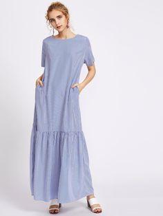 Shop Pinstripe Drop Waist Full Length Dress With Pockets online. SheIn offers Pinstripe Drop Waist Full Length Dress With Pockets & more to fit your fashionable needs.