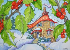 """""""A Peek Through the Holly - Storybook Cottage Series"""" by Alida Akers Cute Cottage, Cottage Art, Christmas Paintings, Christmas Art, Christmas Flowers, Xmas, Storybook Cottage, Winter Art, Whimsical Art"""