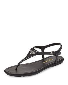 Prada Triangle Patent Thong Sandal, Nero, Size: 36.5 EU (6.5B US)