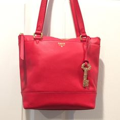 "NWT FOSSIL REAL RED SMALL LEATHER SHOPPER (🎒 FOSSIL SMALL REAL RED 100% LEATHER GIFT SHOPPER. Double handles with a 9-1/2"" drop, zipper closure. Brass-tone hardware, 1 front slip pocket and 1 back slip pocket. Inside 1 zipper pocket , key fob and 2 media pockets. Also come with a Fossil detachable logo key. Brand new in excellent condition ! Fossil Bags Totes"