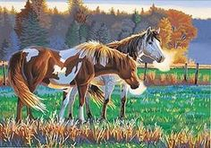 Dimensions Pasture Buddies (Horses) Paint By Number Kit #91417
