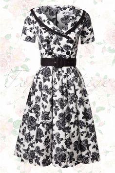 Bunny 50s Black and White Roses Swing Dress. Ook heel zwierig!