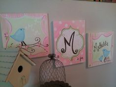 Hand Painted Canvas Monogram triptych set Birds by FrozenFishInk, $75.00