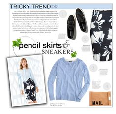 """""""Tricky Trend: Pencil Skirts and Sneakers"""" by leinapacheco ❤ liked on Polyvore featuring H&M, Envi, J.Crew, Akira, Abercrombie & Fitch and TrickyTrend"""