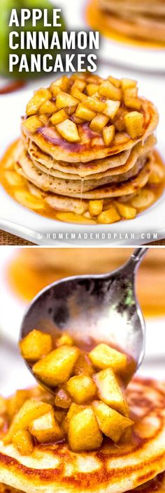Fluffy old fashioned cinnamon pancakes topped with fresh cut apples that are cooked in a cinnamon syrup glaze. Serve with more syrup or powdered sugar. Best Breakfast Recipes, Sweet Breakfast, Breakfast Dishes, Brunch Recipes, Breakfast Ideas, Vegetarian Breakfast, Breakfast Club, Cinnamon Syrup, Apple Cinnamon