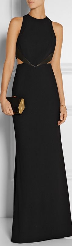 Alice + Olivia, Adel Leather trimmed Crepe cutout gown // as a wedding guest