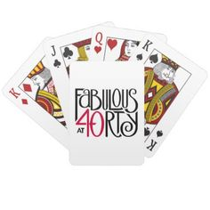 Fabulous at 40rty black red Playing Cards - birthday gifts party celebration custom gift ideas diy