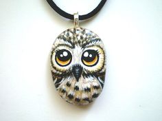 Owl Necklace- Hand Painted Stone @ Etsy