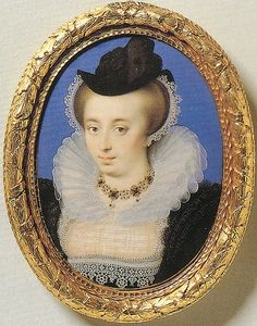 Circa 1596 Unknown Lady by Isaac Oliver-Example of Late Elizabethan raiment.