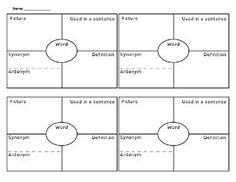 This is a vocabulary graphic organizer known as 4 Square. It is an effective way to learn and practice vocabulary in any subject area. This product contains 1 sheet with four squares on it. Each square is divided into fourths. The student writes the vocab Vocabulary Journal, Vocabulary Strategies, Vocabulary Instruction, Teaching Vocabulary, Vocabulary Practice, Vocabulary Worksheets, Vocabulary Words, Teaching Resources, Vocabulary Definition
