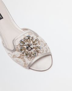 Buy the slippers in lace with crystals for women in white. Enter in the Dolce&Gabbana universe. Peep Toe Wedding Shoes, Peep Toe Heels, Rainbow Laces, 2 Inch Heels, Designer Shoes, Slippers, Footwear, Quartz, Crystals