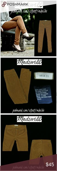 ♥ Madewell Skinny straight stretch cord jeans 26 Madewell corduroy jeans. Lots of stretch. Size 26 with 32 inch inseam. Caramel brown color. All photos of the jeans (unmodeled) were taken by me of actual item for sale. Excellent condition. NO TRADES PLEASE! REASONABLE OFFERS WELCOME THROUGH OFFER FEATURE ONLY PLEASE! Madewell Jeans