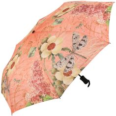 Modern Vintage Dragonfly Pink Auto Open & Close Folding Umbrella - Brolliesgalore