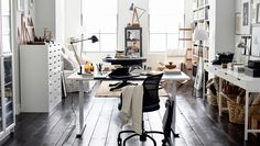 Sticking to neutral colors and black and white means your home office style is longer lasting.