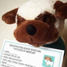 Food Allergy Service Dog Stuffed Animal