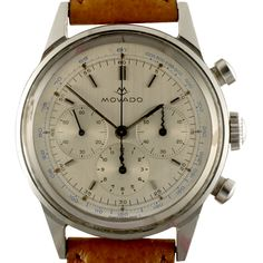Look closely at the textured sub-dials, note the unique kris hands of the chronograph registers, a Movado design hallmark. They almost never survive the passage of time, so to find a watch with them still in place is unusual. Note also that the minutes su