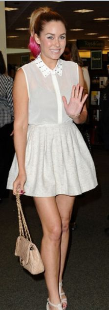 Who made Lauren Conrad's studded collar top, tan quilted handbag, platform sandals, and skirt that she wore in Los Angeles?